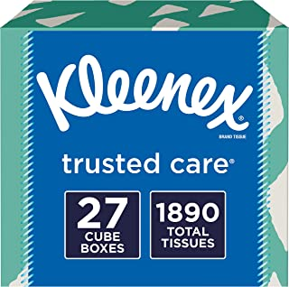 Kleenex Trusted Care Facial Tissues, 27 Cube Boxes, 70 Tissues per Box (1,890 Tissues Total)