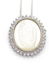LESLIE BOULES Guadalupe Necklace 18 Inches Length Mother of Pearl Virgin Mary Pendant