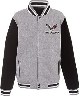 Mens Chevy Corvette Reversible 2-Tone Fleece Jackets with Front & Back Emblems