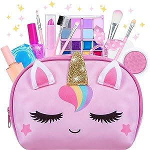 Kids Makeup Kit for Girl, Washable Kids Makeup Sets, Real Girls Makeup for Kids, Toddler Pretend Play Makeup Set for 4 5 6 7 8 Years Old Little Girls