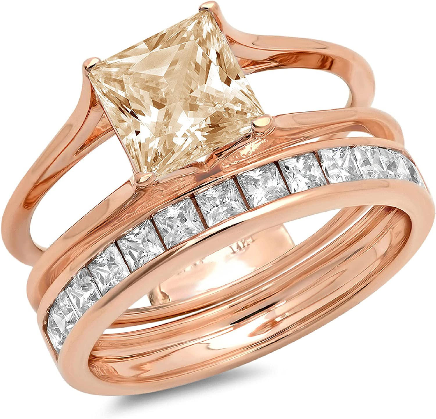 3.45 ct Princess Cut Pave Solitaire Accent Flawless Yellow Moissanite Modern Wedding Bridal Anniversary Wedding Ring Band set Sliding Solid 14k Rose Gold