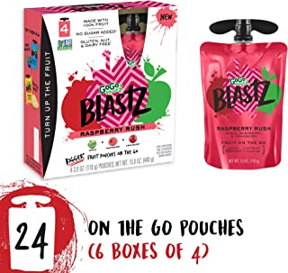 GoGo squeeZ BlastZ Fruit Pouches on the Go, Raspberry Rush, 3.88 Ounce (24 Pouches), Gluten Free, Vegan Friendly, Healthy Snacks, Unsweetened, Recloseable, BPA Free Pouches