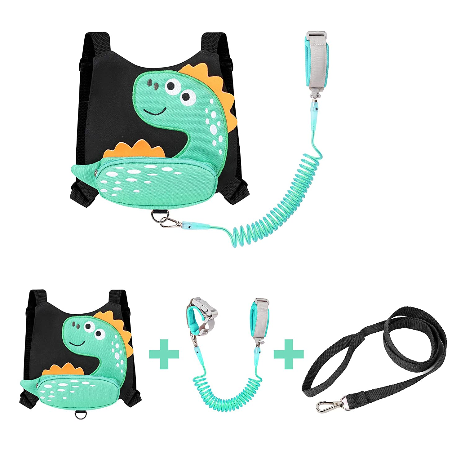 EPLAZA Dinosaur-Like Toddler Harnesses with Leashes Anti Lost Wrist Link Wristband for 1.5 to 3 Years Kids Girls Boys Safety (Little Dinosaur Black)