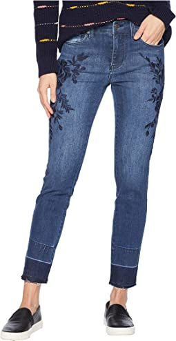 Sadie Ankle Released Hem Embroidered in Super Comfort Stretch Denim Jeans in Montauk Mid Blue