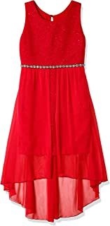 Amy Byer Girls' Big 7-16 Sleeveless High-Low Party Dress with Lace Bodice