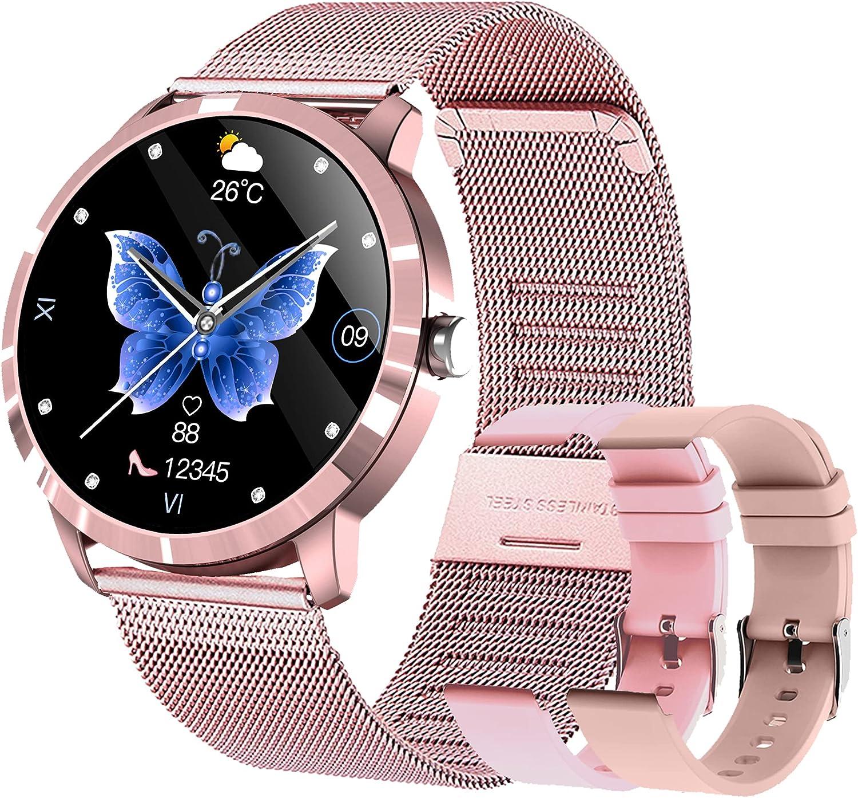 Smartwatch Mujer Reloj Inteligente IP68 con 22 Modos de Deporte, Pulsómetro, Monitor de Sueño, Notificaciones Inteligentes, 1.09 Pulgadas Reloj Deportivo para Android iOS(3 Correas)