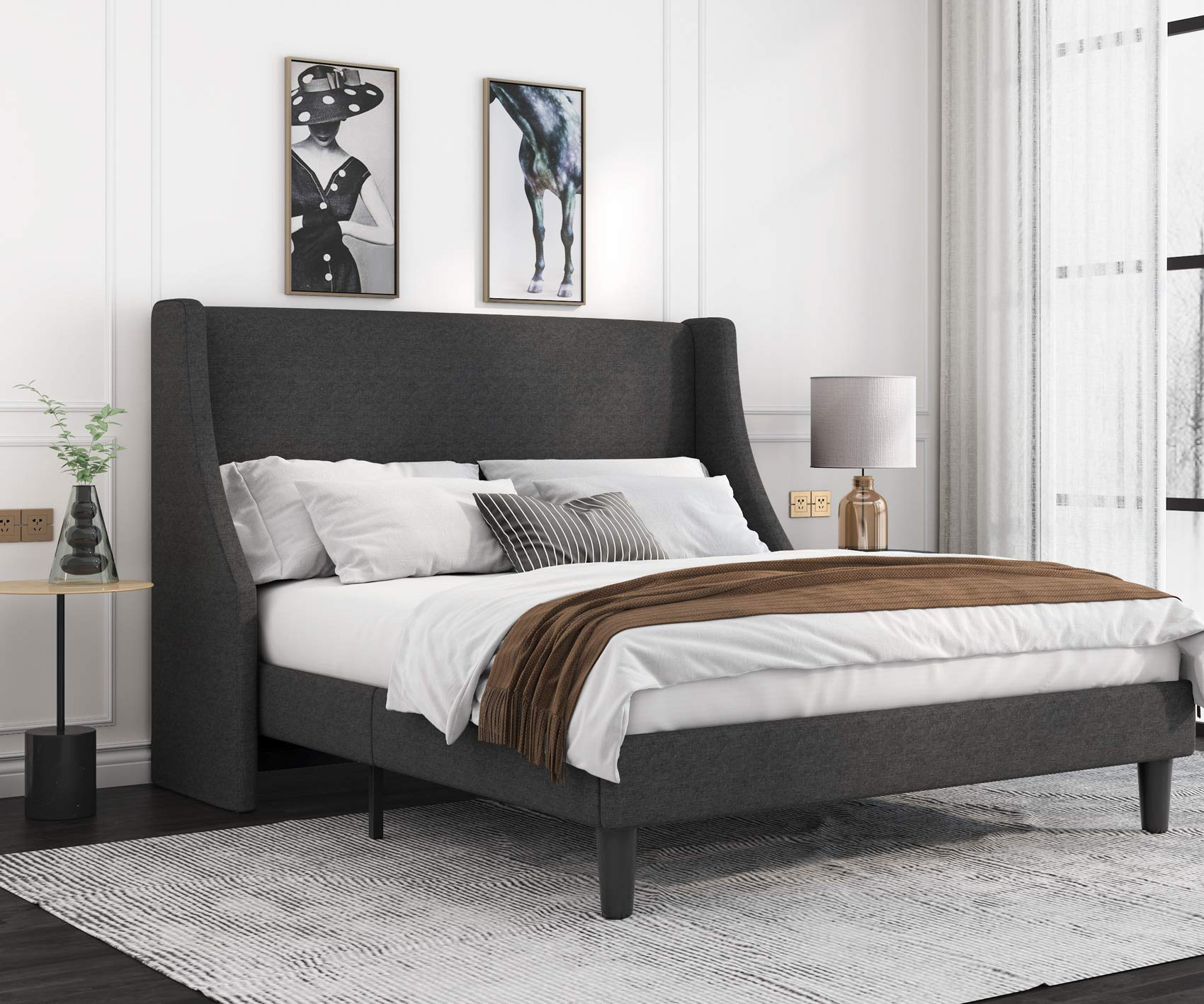Allewie Modern Queen Size Modern Platform Bed Frame with Deluxe Wingback/ Upholstered Bed Frame with Headboard / Wood Slat...