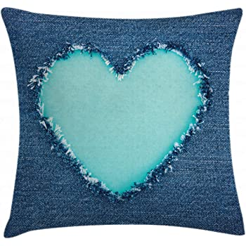 Amazon.com: Ambesonne Navy and Teal Throw Pillow Cushion Cover