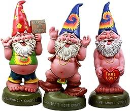 Ebros Free Spirited Pot Smoking Hippie Gnome Statue Set 13.5