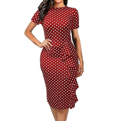 8355acf64bde CISMARK Women's Vintage Short Sleeve Polka Dot Falbala Fold Slim Fit Pencil  Dress