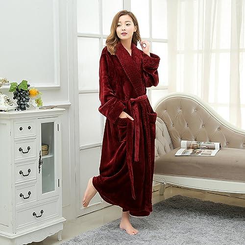 LKKL Lkklily-Autumn et Hiver Pyjama pour Homme et Femme Manchette col Polaire Peignoir de Bain de Salle de Bain Peignoir de Bain