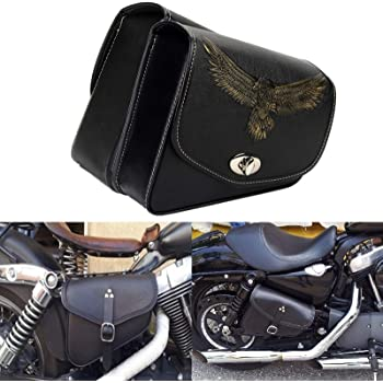 Left/&Right Black PU Eagle Tool Bag Luggage SaddleBag For Harley Chopper Bobber