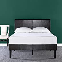 Zinus Gerard Deluxe Faux Leather Upholstered Platform Bed / Mattress Foundation / Easy Assembly / Strong Wood Slat Support, Queen