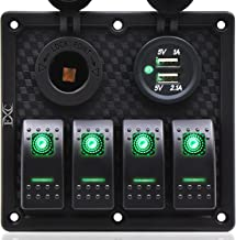 FXC Waterproof Marine Boat Rocker Switch Panel Gang with Dual USB Slot Socket + Cigarette Lighter LED Light for Car Rv Vehicles Truck