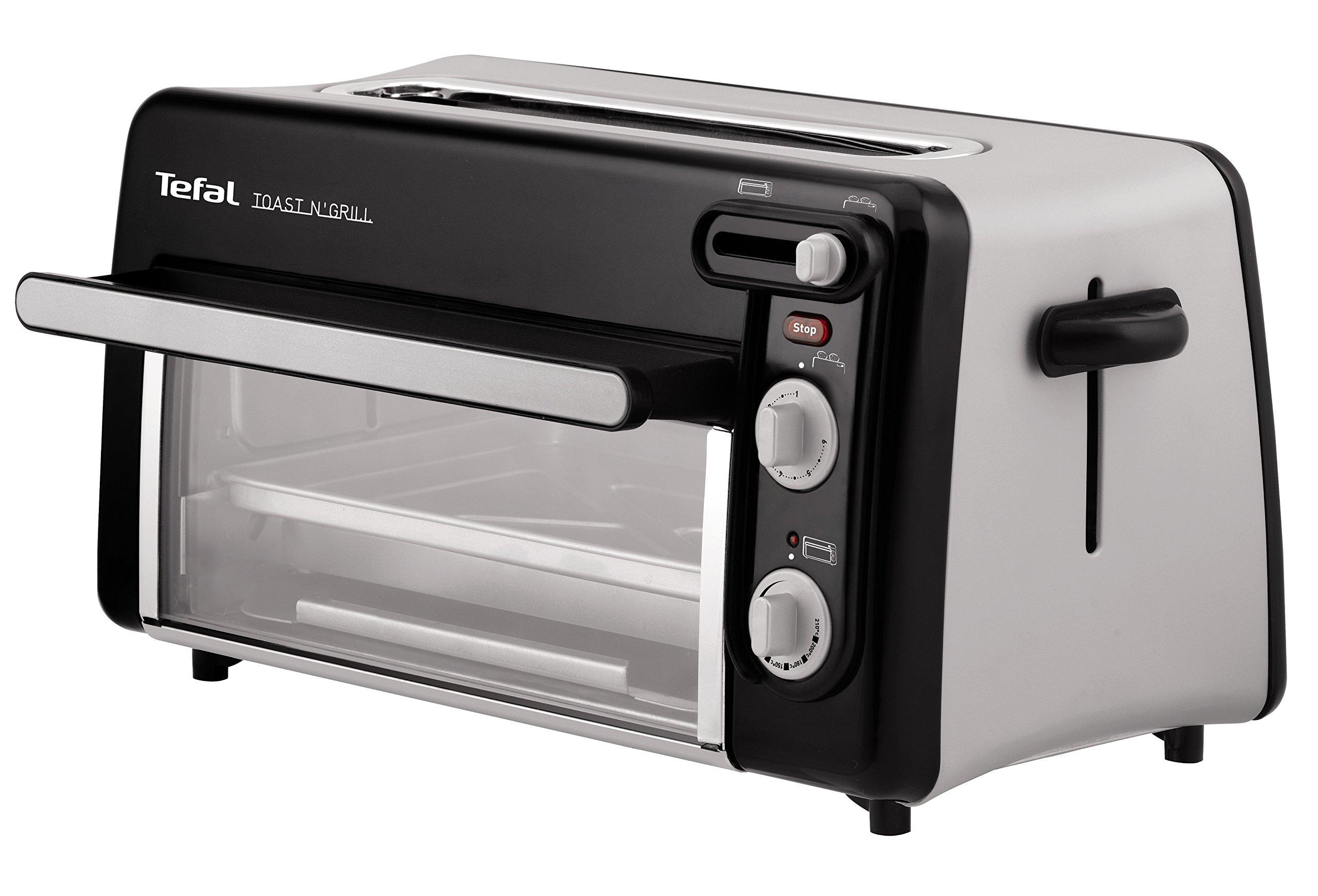 Moulinex Toast & Grill TL6008 - Tostador y horno, 2 en 1, potencia 1300 W, 1 ranura larga, temporizador 10 min, termostato regulable hasta 220 C, Incluye libro de recetas, bandeja recogemigas: Amazon.es: Hogar