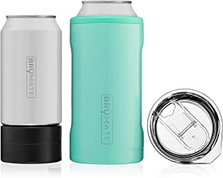 BrüMate HOPSULATOR TRíO 3-in-1 Stainless Steel Insulated Can Cooler, Works With 12 Oz, 16 Oz Cans And As A Pint Glass (Aqua Blue)