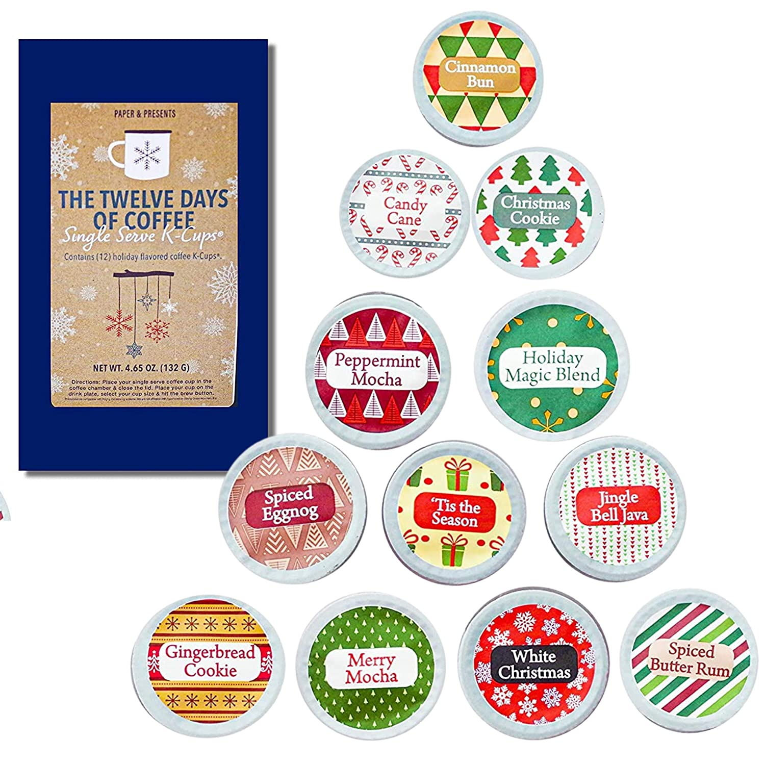 Coffee Pods Christmas Coffee Gift 12 Single Serve Keurig KCUP Compatible Advent Calendar Assortment- Holiday Gourmet Gift Box Set - Best Xmas Present Idea/Stocking Stuffer (Coffee)