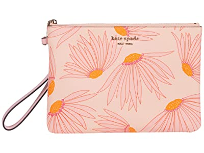 Kate Spade New York Spencer Grand Daisy Small Pouch Wristlet (Pink/Multi) Handbags