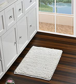 UMI by Amazon Micro Chenille & Cotton Bobble - Alfombrilla de baño (50 x 80 cm) color blanco