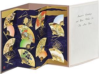 AAP45-1514 和風グリーティングカード/むねかた 立体 金箔 「扇流図屏風」 (中紙・封筒付) 再生紙