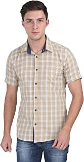 Carbonn Blue Men Beige Half Sleeves Checkered Shirt