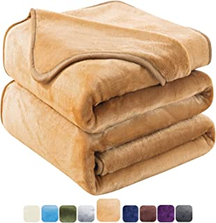 HOZY Soft Blanket Twin Size Fleece Warm Fuzzy Throw Blankets for The Bed Sofa Lightweight 350GSM Camel 66