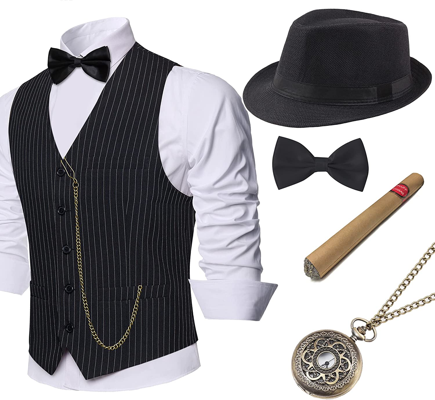 BABEYOND 1920s Mens Gatsby Gangster Vest Costume Accessories Set Fedora Hat: Clothing