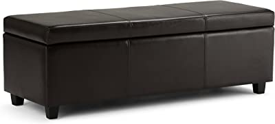 Simpli Home Avalon 48 inch Wide Rectangle Lift Top Storage Ottoman Bench in Upholstered Tanners Brown Faux Leather with Large Storage Space for the Living Room, Entryway, Bedroom, Contemporary