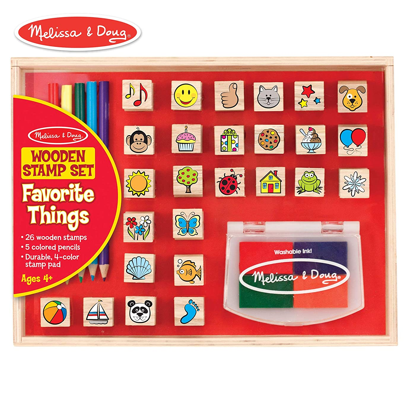 """Melissa & Doug Wooden Favorite Things Stamp Set (Arts & Crafts, Sturdy Wooden Storage Box, Washable Ink, 26 Pieces, 10.45"""" H x 8.25"""" W x 1.6"""" L)"""