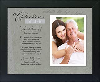 Memorial/Remembrance Photo Frame with Inspirational A Celebration of Life Poem - Sympathy Gift for Loss of Loved One (Black)