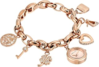 Anne Klein Women's  Swarovski Crystal Accented Rose Gold-Tone Charm Bracelet Watch