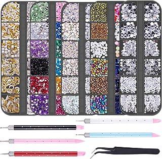 Duufin 11220 Pieces Nail Rhinestones Flatback Crystal Nail Jewels Rhinestones Nail Studs with Pick Up Tweezer and Rhinesto...