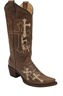 Corral Women's Circle G Side Cross Embroidered Western Boot Brown