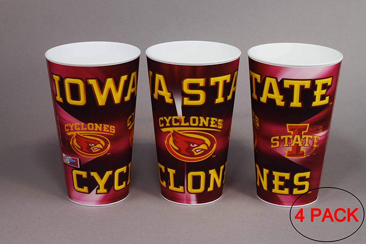 Iowa State University Cyclones Plastic Cup Holographic 22oz Pack Of 4 Tailgating Tumbler Cups Dishwasher Safe BPA Free