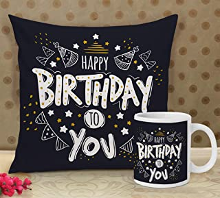 Tied Ribbons Cushion Cover With Filler And Coffee Mug, 12 X 12 Inch, Multicolour, 1 Cushion Cover, 1 Coffee Mug, 2000 Tc, ...