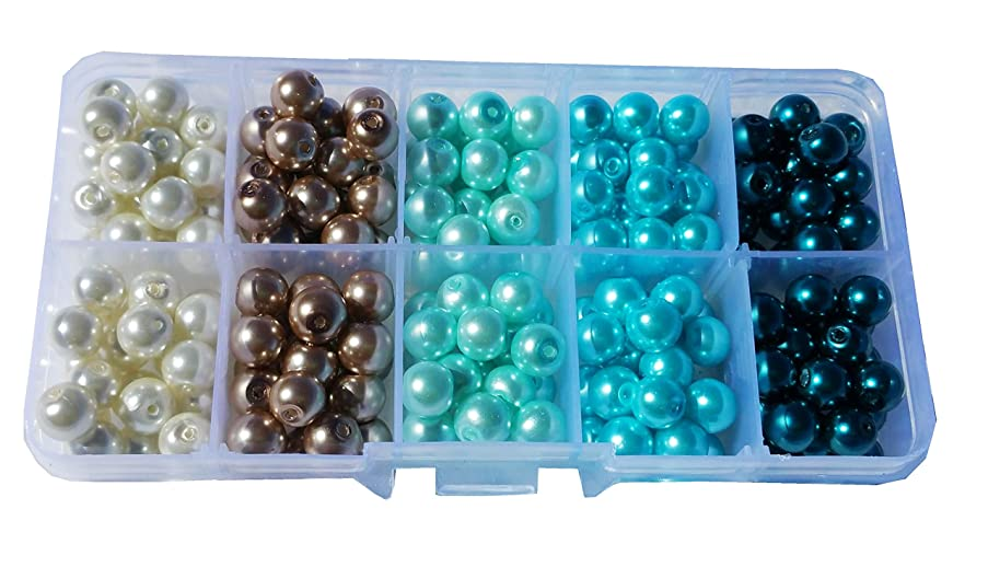 200+pcs 8mm Luster Glass Pearl Round Beads with Case / Jewelry Making Beads (Cream/Brown/Blue)