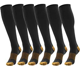 3 Pairs Black Compression Socks For Men - Copper Compression Stockings for Men One Size Fits All