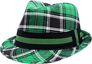 JFH GROUP Irish Fedora Hat Checkered Green