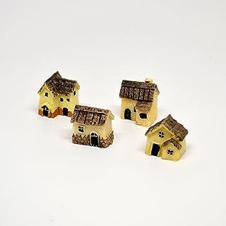 Pixie Glare Fairy Garden Miniature Micro Village Stone Houses (Biege 4 Pack)