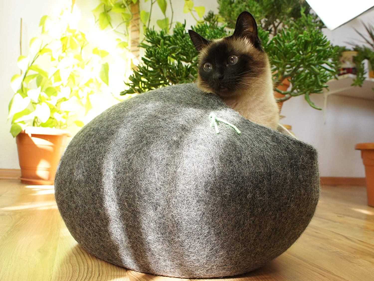Cat House, Bed, Cave. Handmade. Ecological Sheep Wool. Size XL (Extra Large) (Grey)