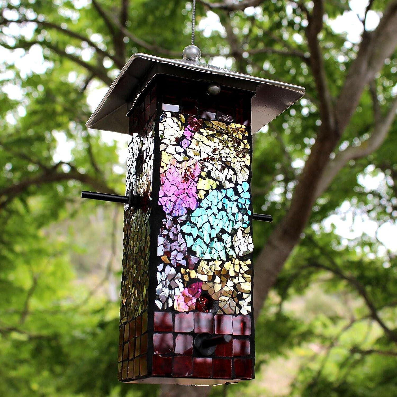 Mosaic Stained Glass Seed Bird Feeder Bird Feeder Outdoor Decor Bird feeders for Outside Yard Decor Bird House Bird feeders Oriole Feeder Outside Decor Window Bird feeders Squirrel Baffle