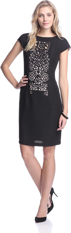 Nue by Shani Women's Laser Cut Crepe Dress, Black/ Nude, 6