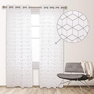 Deconovo Cortinas Visillos Salon Modernos Diseño Cubo Geométrico Cobre Caliente, 100% Poliéster, 135 x 260 cm