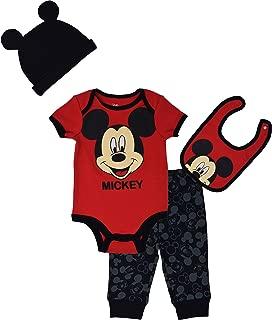 Mickey Mouse Baby Boys Bodysuit Pants Bib & Cap Layette Set
