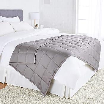 AmazonBasics - Manta de algodón con peso, para todas las estaciones, 9kg, 120cm x 180cm (individual), gris oscuro