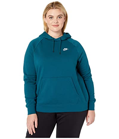 Nike Plus Size NSW Essential Hoodie Pullover Fleece (Midnight Turquoise/White) Women