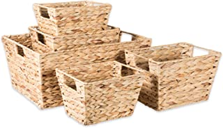 DII Natural Water Hyacinth Storage Basket with Handles, Beige