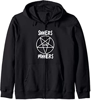 Sinners are Winners Pentagram Black Metal Fans, Halloween Zip Hoodie
