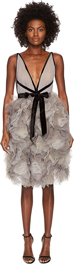 Marchesa - Tulle Cocktail Dress w/ Degrade Floral Skirt