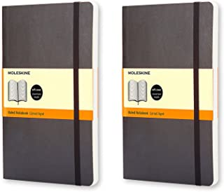 Moleskine Classic Notebook, Bundle of 2 Large, Ruled, 192 Page Notebooks.Each Journal is 5.25 Inches Long by 8.25 Inches Tall by .5 Inches Thick (Black)